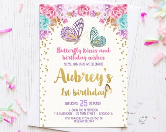 Butterfly Birthday Invitation Watercolor Floral Boho Girl Garden Party Printable