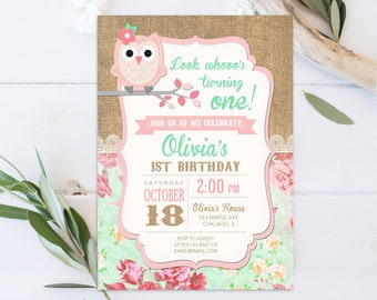 Owl Birthday Invitation Girl Invite Pink Party First Invites 1st Printable Or Printed Invitations