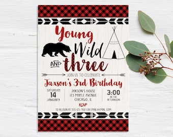 Young Wild And Three Birthday Invitation BOY Invitations Third 3rd Lumberjack Invites Printable