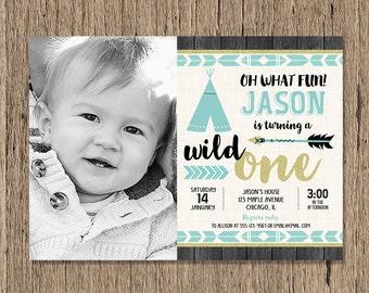 first 1st birthday invitation for boy wild one birthday party etsy