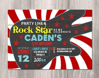 Rock Star Birthday Invitation Guitar Rockstar Boy Invite Rocker N Roll Printable Or Printed