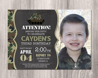 Camo Invitation Etsy