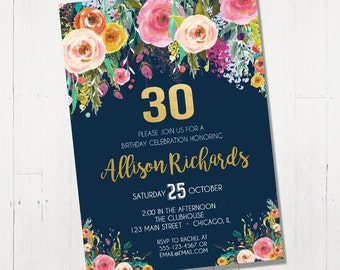 30th Birthday Invitation For Her Female Woman Adult Surprise Invite Navy Blue Floral Flowers Watercolor Digital Gold Foil Boho Printable