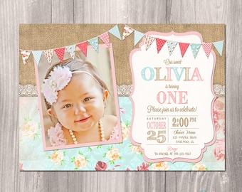 Shabby Chic Birthday Invitation - Girl First Birthday Invitation - Burlap Birthday Invitation - 1st Birthday Invitation - Printable Invite