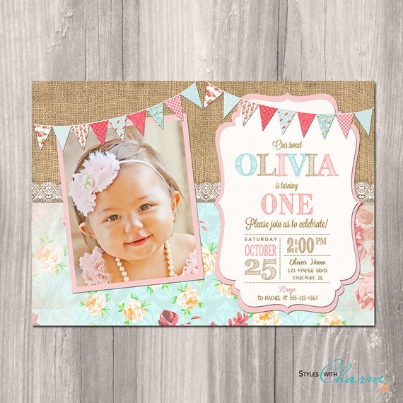 Shabby chic birthday invitation girl first birthday etsy image 0 filmwisefo