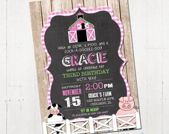 Farm Birthday Invitation, Girl Farm Invitation, Pink farm invite, Barnyard Invitation, Farm Animal Birthday Invitation, Printable Invitation