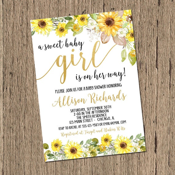 Sunflower baby shower invitation girl sunflowers spring baby etsy image 0 filmwisefo