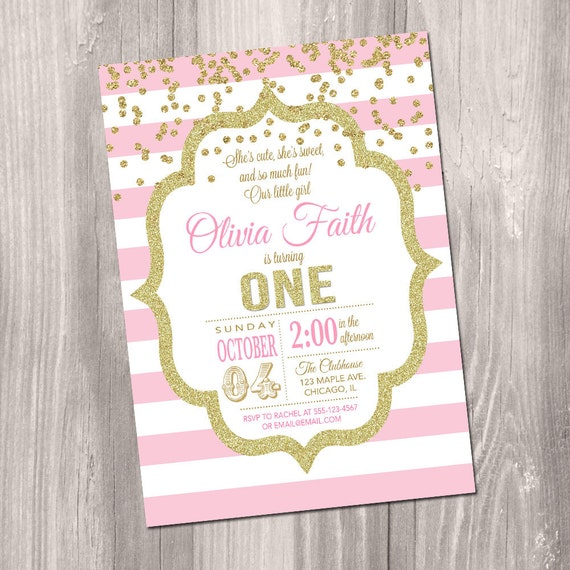 Pink And Gold First Birthday Invitation 1st Invite