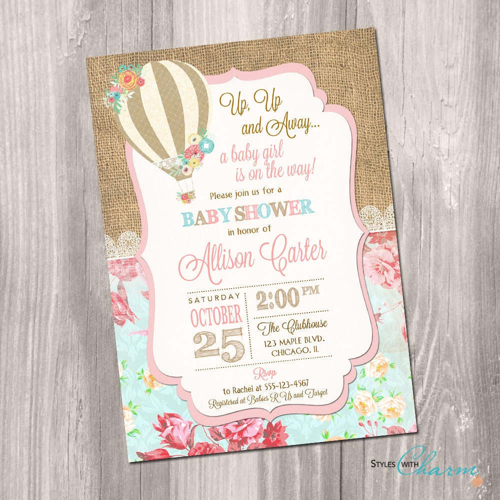 Hot Air Balloon Baby Shower Invitation Up Up And Away Baby Etsy