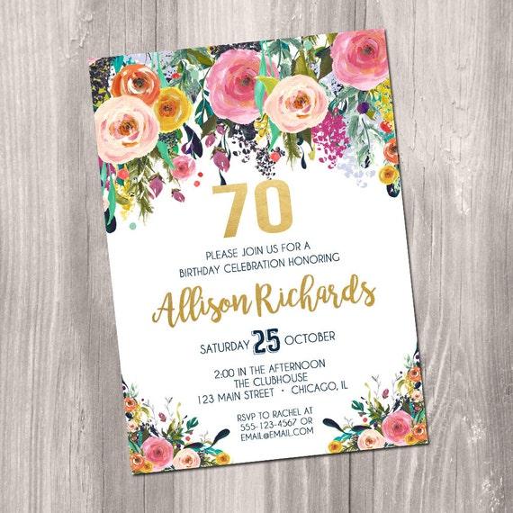 70th Birthday Invitation For Women Female Adult Surprise