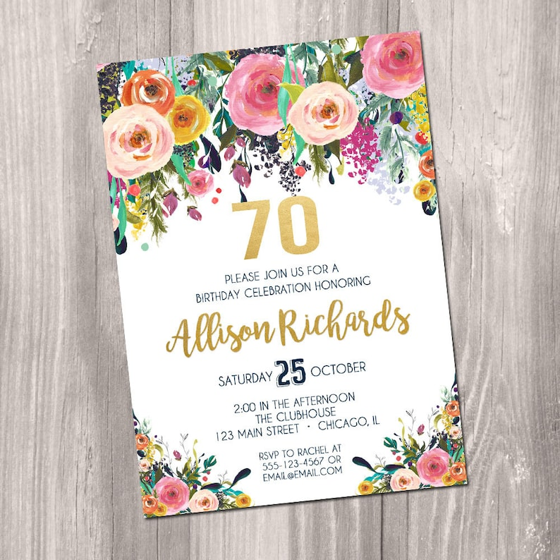 70th Birthday Invitation For Women Female Adult Surprise