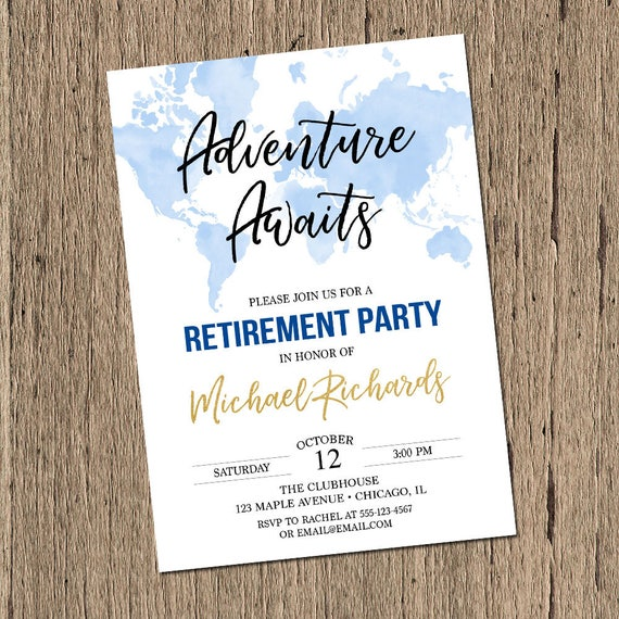 photograph about Printable Retirement Invitations referred to as Experience awaits Retirement bash invites, push concept retirement invite, global map planet traveler retirement social gathering printable released