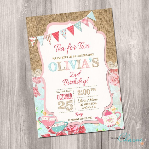 Tea For Two Invitation Party Birthday Invite Second 2nd
