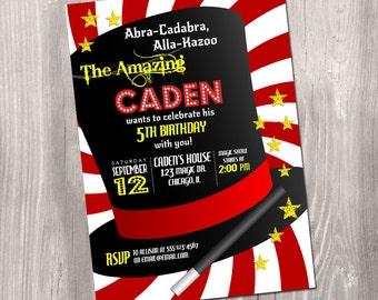 Magic Party Invitation, magic show invitation, magic show birthday invitation, magic birthday invitation, digital, Printable Invitation