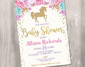 Unicorn baby shower invitation, girl baby shower invitation, pink flowers watercolor gold glitter baby shower printable digital