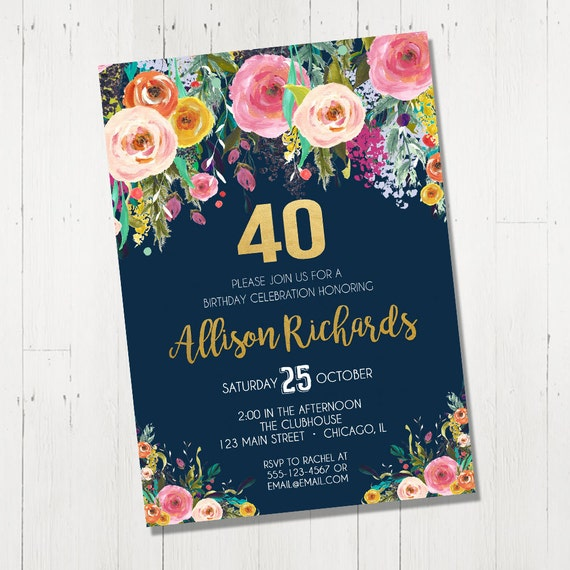 40th Birthday Invitation For Female Woman Women Adult Surprise