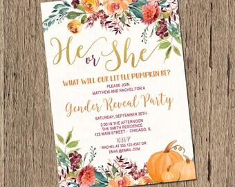 Fall Gender Reveal Invitation, Pumpkin gender reveal invite, sex reveal invitation, Printable or printed invitations
