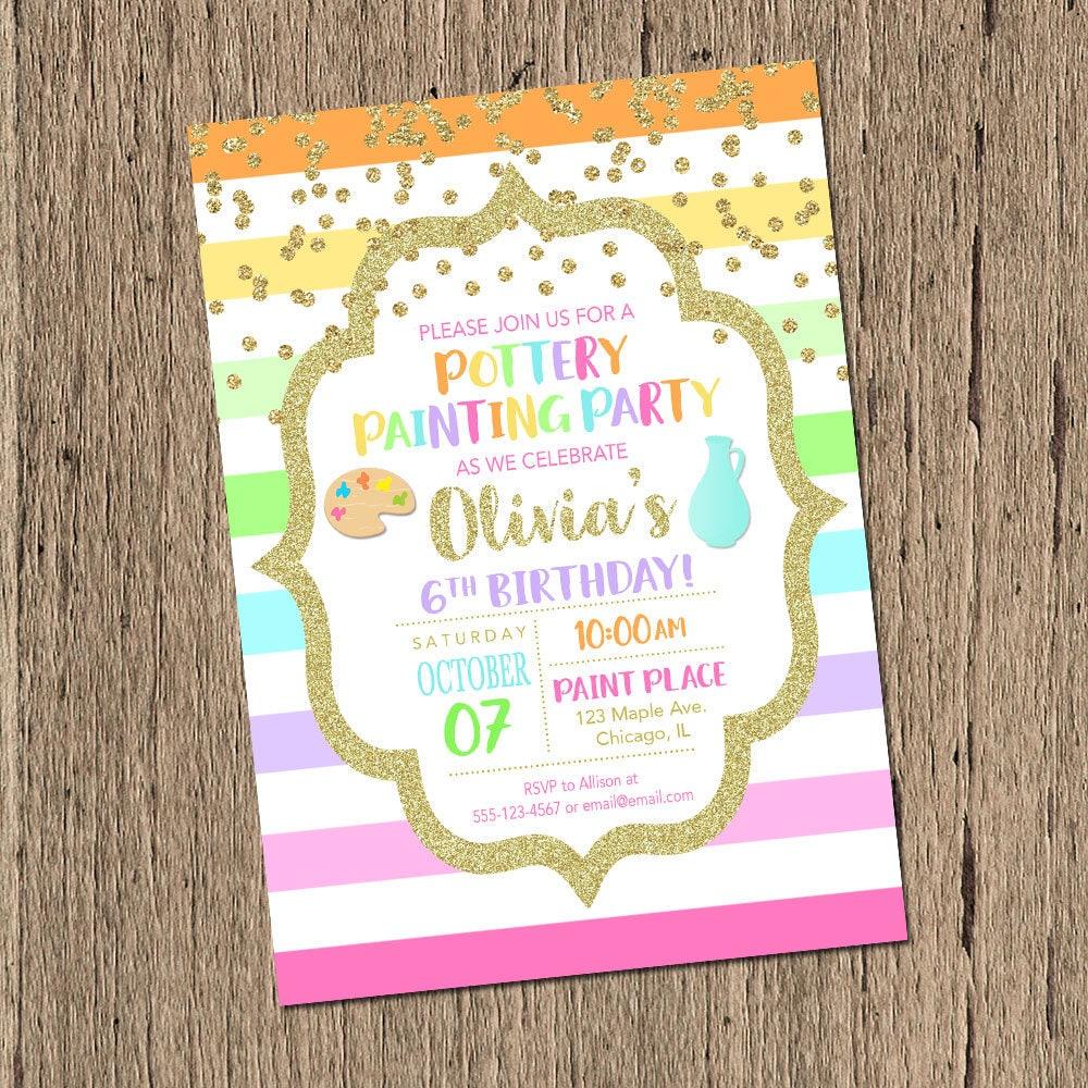 Pottery Party invitation pottery painting party birthday | Etsy
