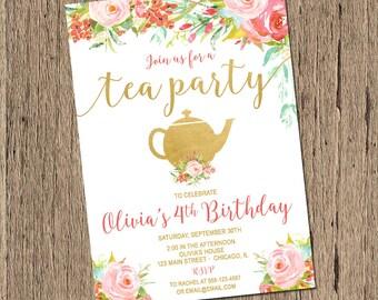 Tea Party birthday Invitation, Shabby Chic Birthday Invitation, First Birthday girl birthday invitation, watercolor flowers, printable