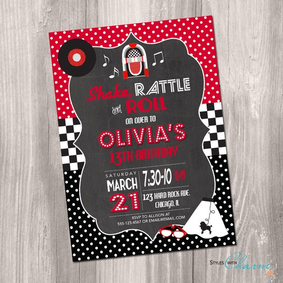 50s birthday invitation fifties birthday invitation red etsy