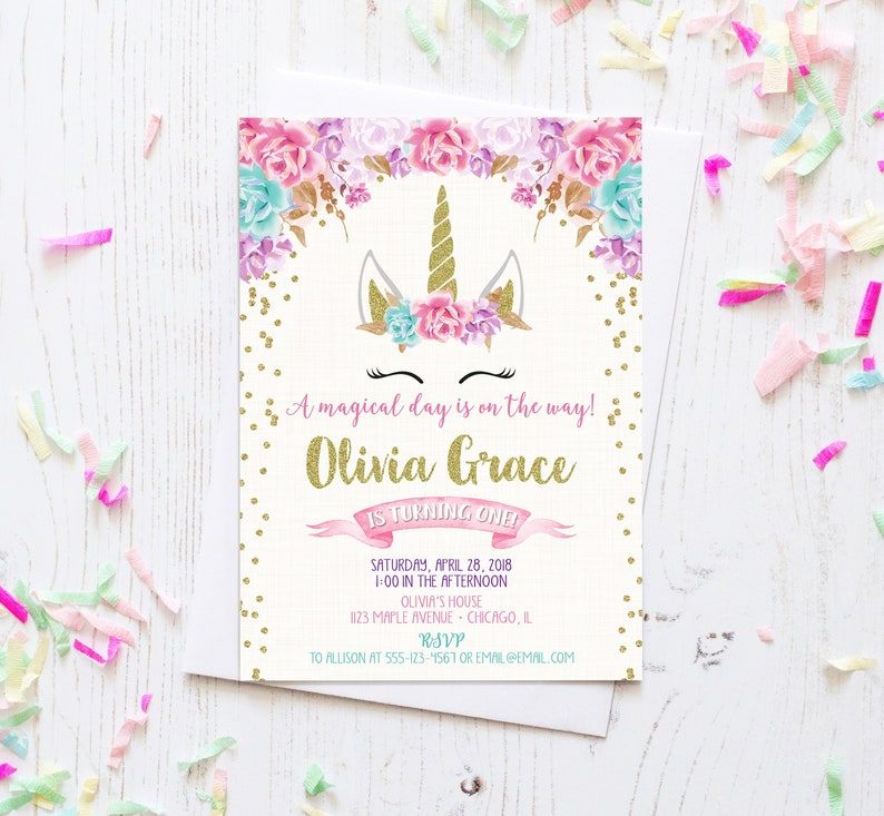Unicorn Birthday Invitation Magical Face Girl 1st