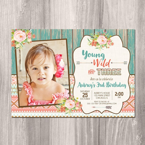 third birthday invitation girl 3rd birthday invite young wild etsy