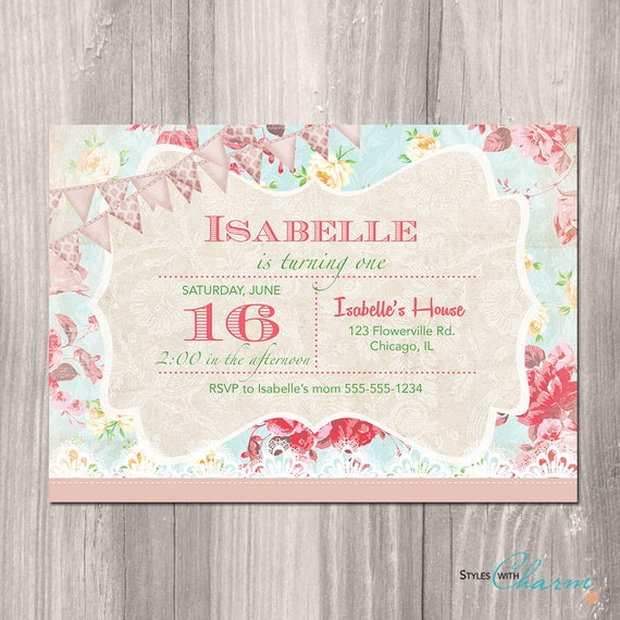 Shabby chic birthday invitation princess garden tea party etsy image 0 filmwisefo
