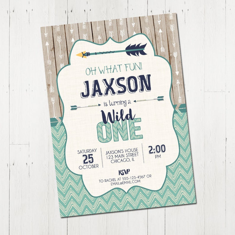 1st Birthday Invitation Boy Wild One Tribal