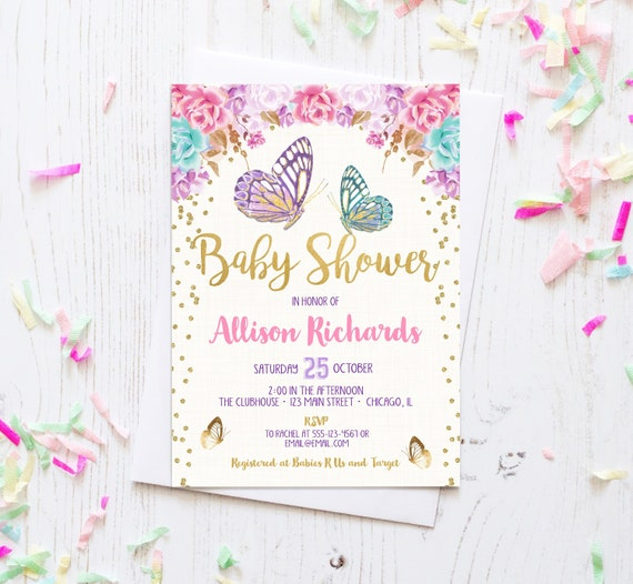 Butterfly Baby Shower Invites: Butterfly Baby Shower Invitation Girl Baby Shower Invite