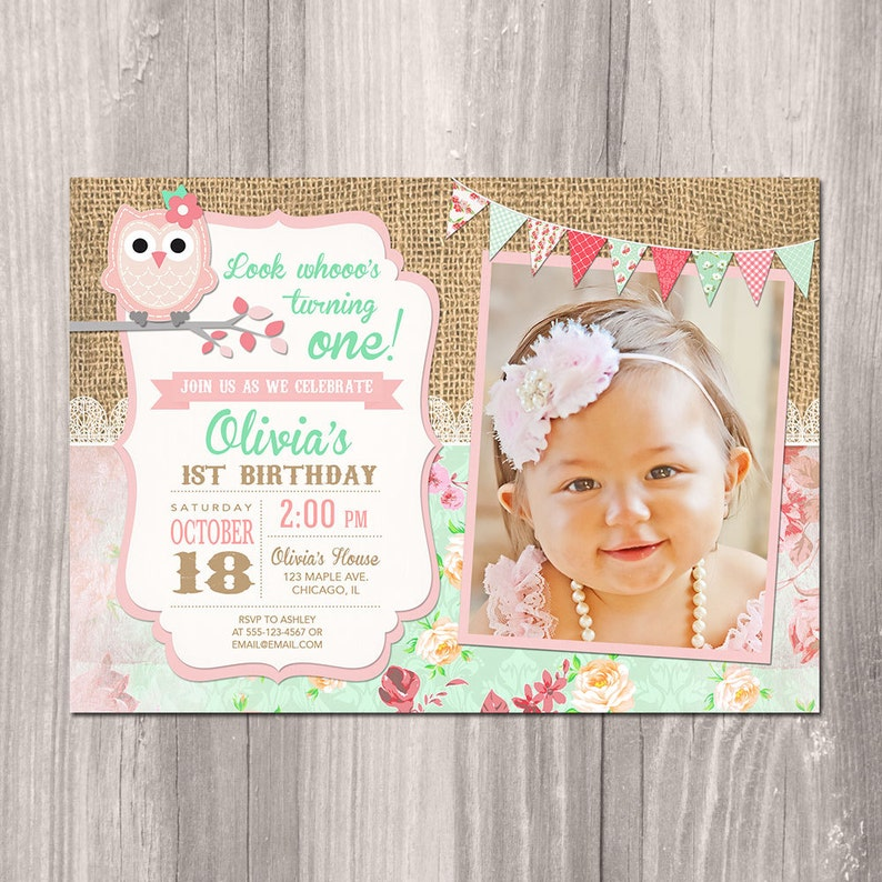 Owl Birthday Invitation Girl First 1st
