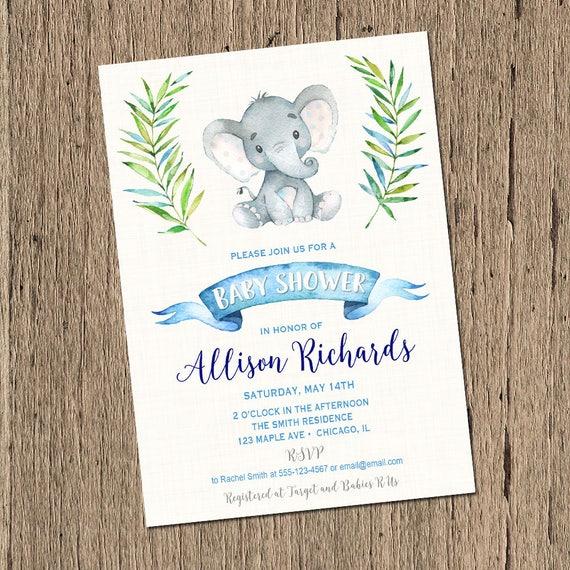 Baby Shower Invitation Boy Elephant Baby Shower Invitation Etsy