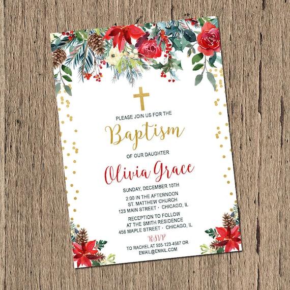 Christmas Christening.Christmas Baptism Invitation Red And Gold Christening Invitation Girl Dedication Holiday Winter Invite Printable Or Printed Invitations