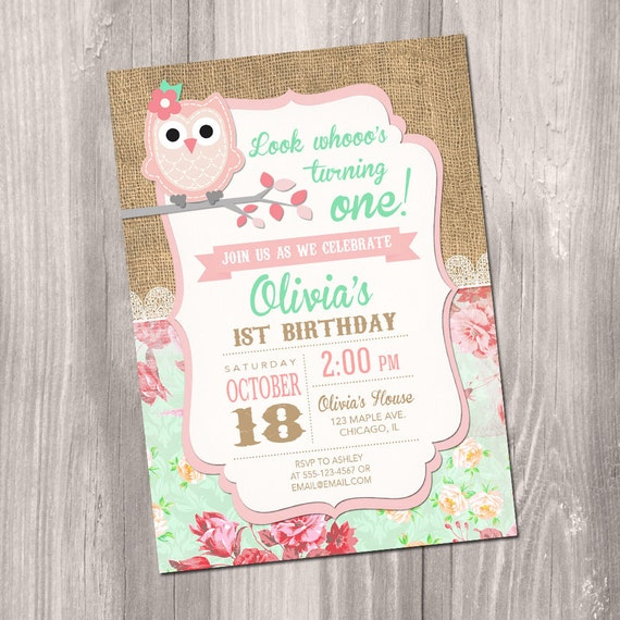 Owl Birthday Invitation Girl Party