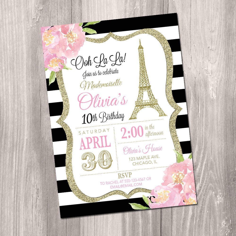 Paris Birthday Invitation Eiffel Tower Invitation Printable | Etsy
