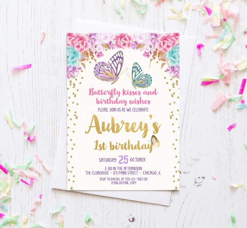 Butterfly Birthday Invitation Butterfly Invitation