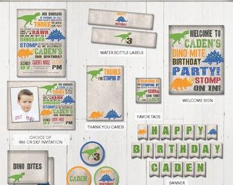 Dinosaur Party Package, Dinosaur Birthday Invitation, Dinosaur Printables, Dinosaur Printable Party Package, Dinosaur party printables