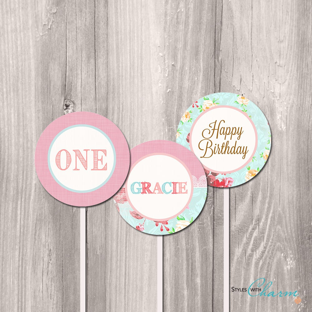 shabby chic cupcake toppers printable cupcake toppers floral etsy. Black Bedroom Furniture Sets. Home Design Ideas