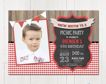 Picnic Party Invitation, Picnic Birthday Invitation, BBQ Party Invitation, Summer Birthday Invitation, Picnic Party Printable Invitation