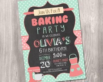 Baking party Invitation, baking Invitation, bake party invitation, cake decorating invitation, chalkboard, digital, Printable Invitation
