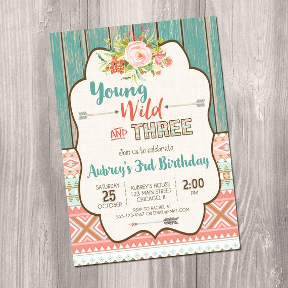 Young Wild And Three Birthday Invitation Third 3rd