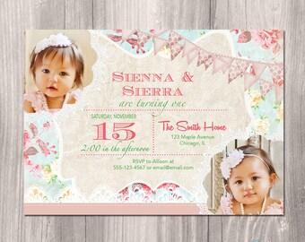 Twins Birthday Invitation - Twin girls birthday invitation - Shabby Chic Birthday Invitation - Twin Girls First Birthday Invitation