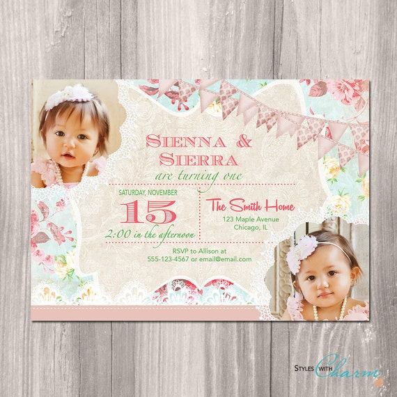 Twins birthday invitation twin girls birthday invitation shabby twins birthday invitation twin girls birthday invitation shabby chic birthday invitation twin girls first birthday invitation filmwisefo