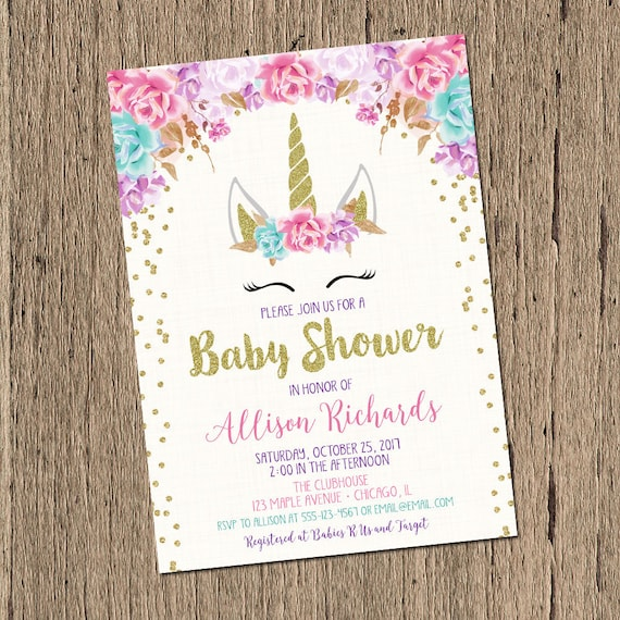 Unicorn baby shower invitation girl baby shower invite etsy image 0 filmwisefo
