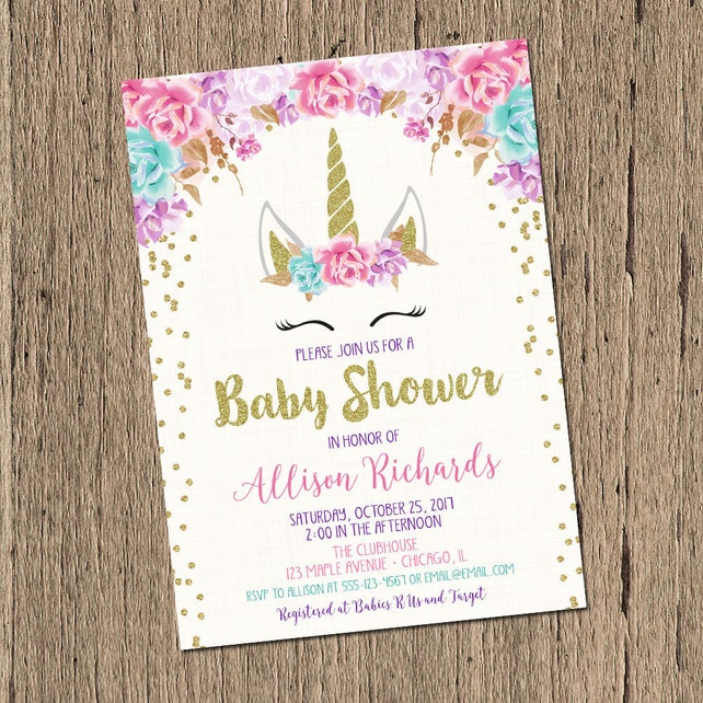 Unicorn baby shower invitation girl baby shower invitation etsy image 0 filmwisefo