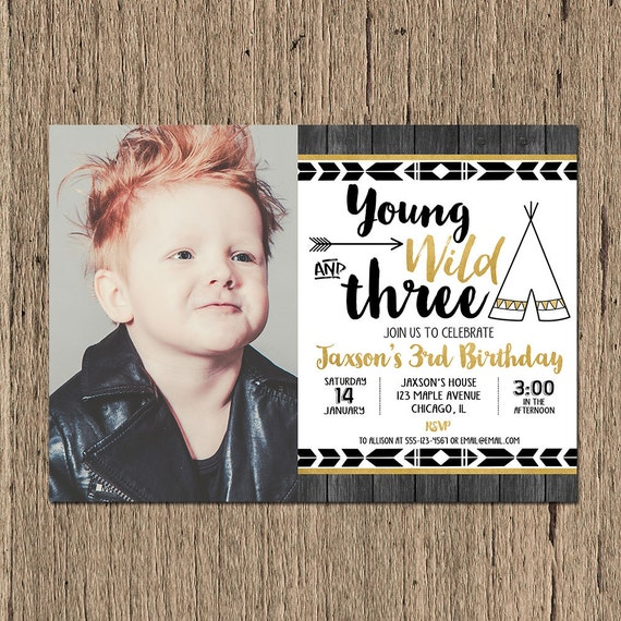 Third Birthday Invitation BOY 3rd Young Wild And
