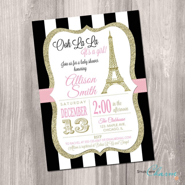 Paris Baby Shower Invitation Eiffel Tower Baby Shower Etsy