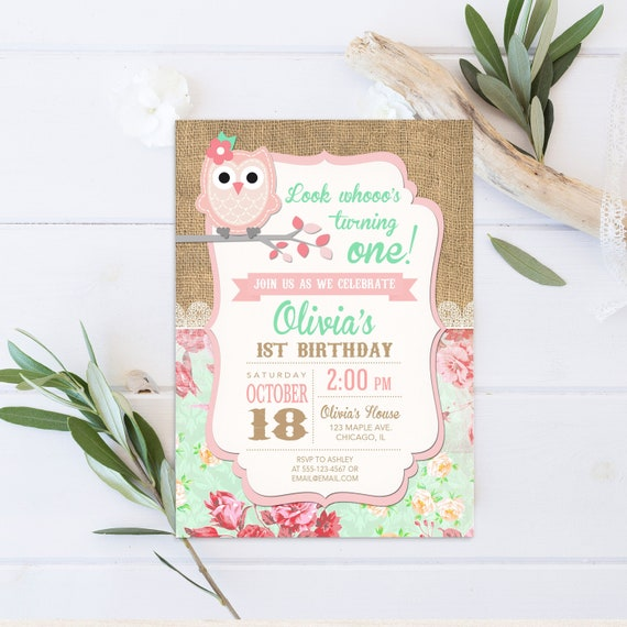 Owl Birthday Invitation Girl Invite Pink Party