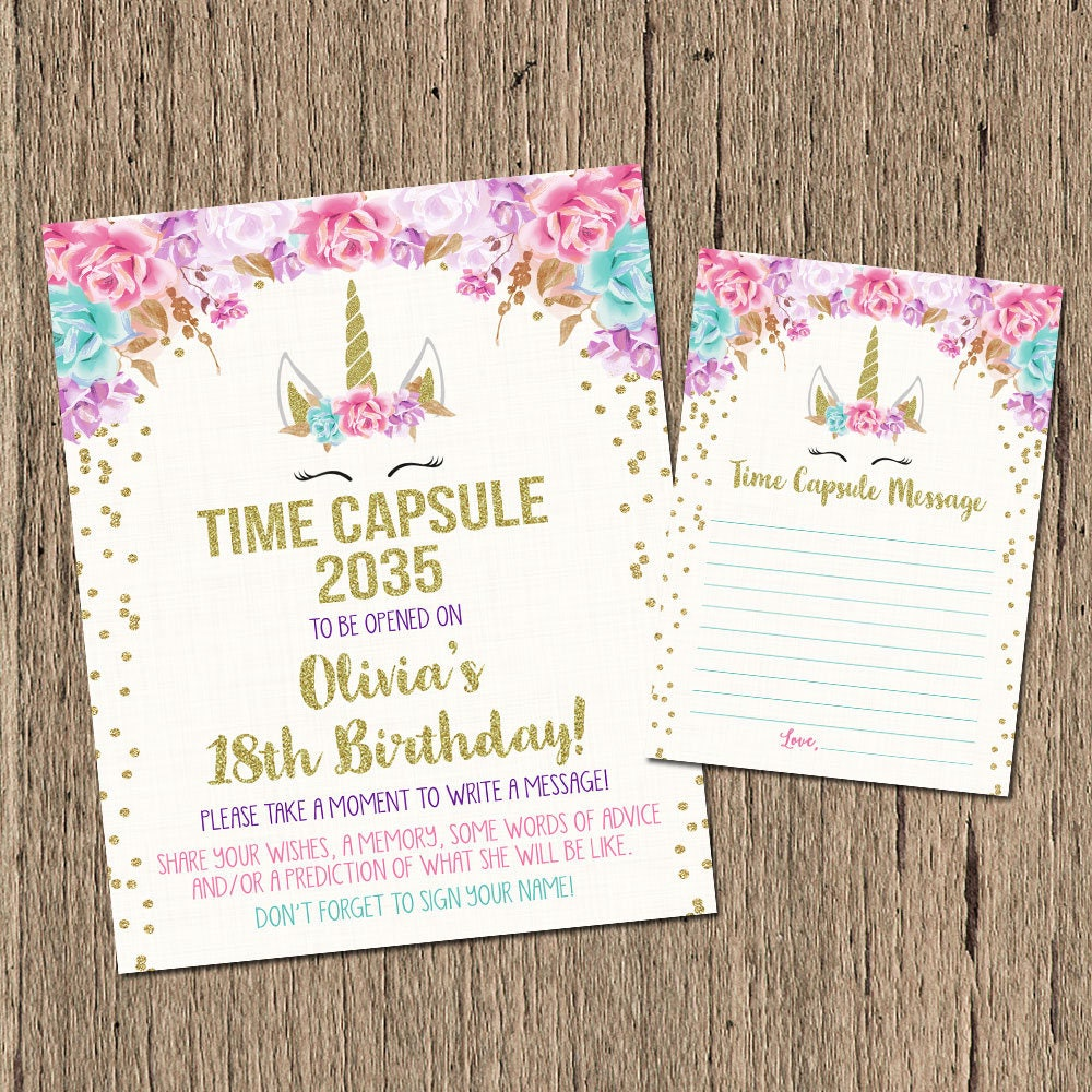 Unicorn time capsule sign time capsule message first | Etsy