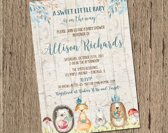 Woodland baby shower invitation, boy baby shower invitation, forest animals fox, gender neutral baby shower invitation, printable invite