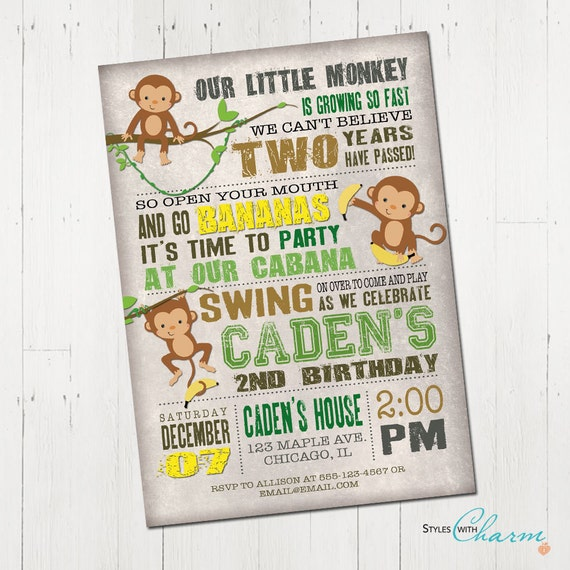 Monkey Birthday Invitation Jungle